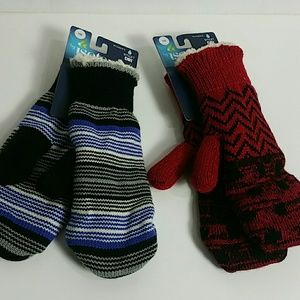 By isotoner bundle of 2 New One Size mittens